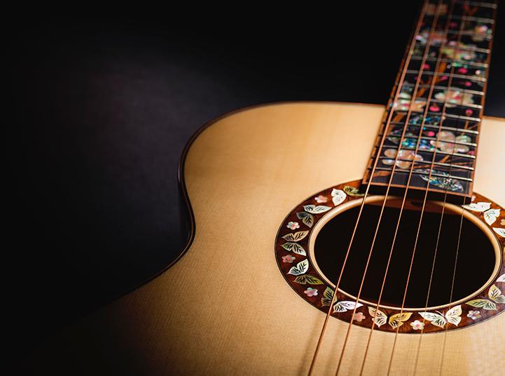 Closeup views of a custom Martin Guitar