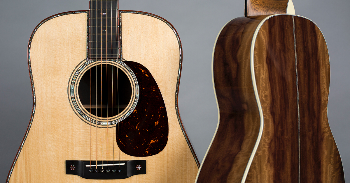 Body details, front and back, of a custom Martin Guitar