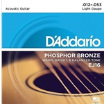 D'Addario EJ16 Phosphor Bronze Light Acoustic Guitar Strings, Light, 12-53