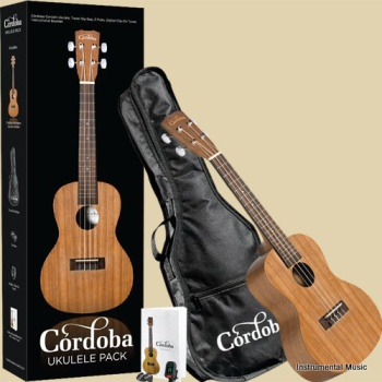 Cordoba UP100 Uke Package with Bag, Electric Tuner, and Picks